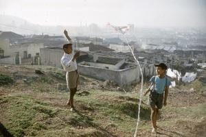 Young Boys Flying Kites in Durban, Africa 1960 by Grey Villet