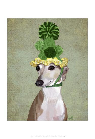 Greyhound in Green Knitted Hat-Fab Funky-Art Print