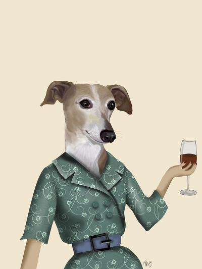 Greyhound Wine Snob-Fab Funky-Art Print
