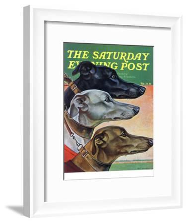 """""""Greyhounds,"""" Saturday Evening Post Cover, March 29, 1941-Paul Bransom-Framed Giclee Print"""