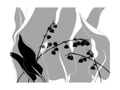 Greyscale Print of Flower Blossom and Leaves--Photo