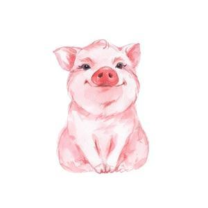 Funny Pig. Cute Watercolor Illustration 1 by Gribanessa