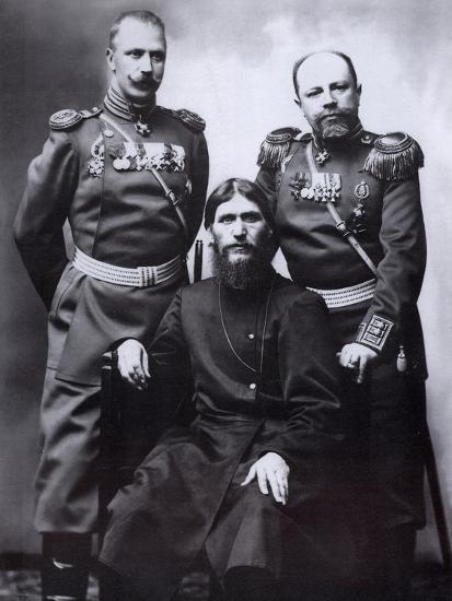 Grigori Rasputin, General Count Mikhail Putyatin and Colonel Dmitriy Lotman, 1904-1905-Karl Karlovich Bulla-Photographic Print