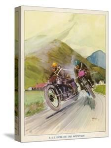 Two Competitors in the Tourist Trophy Race Fight It out Amid the Hills of the Isle of Man by Grimes