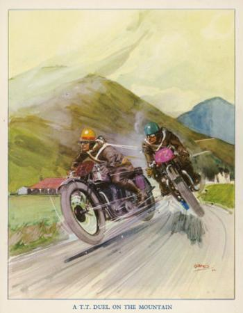 Two Competitors in the Tourist Trophy Race Fight It out Amid the Hills of the Isle of Man
