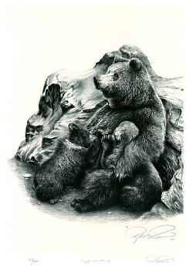 Grizzly Bear Family-Robert Pow-Limited Edition