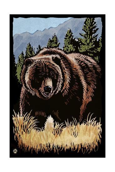 Grizzly Bear - Scratchboard-Lantern Press-Art Print
