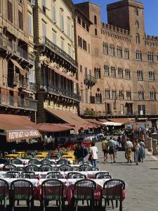 Street Scene of Cafes on the Piazza Del Campo in Siena, UNESCO World Heritage Site, Tuscany, Italy by Groenendijk Peter