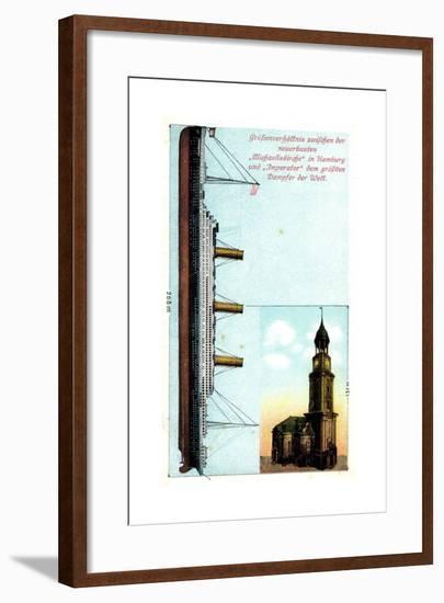 Größenverhältnis Zw. Dampfer Imperator Und Kirche--Framed Giclee Print