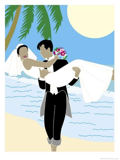 Groom Carrying Bride Along the Ocean, Grouped Elements--Art Print