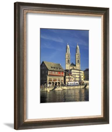 Grossmunster Church Built in Gothic Style in 1781 on the Limmat River in Zurich, Switzerland-Richard Nowitz-Framed Photographic Print
