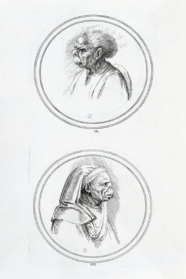 Grotesque Heads, 1730-Anne Claude Philippe-Giclee Print