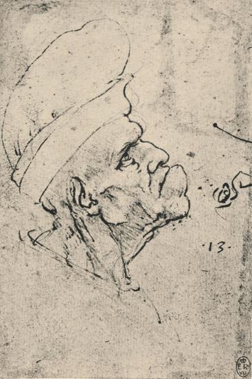 'Grotesque Profile of a Man Wearing a Hat to the Right', c1480 (1945)-Leonardo da Vinci-Giclee Print