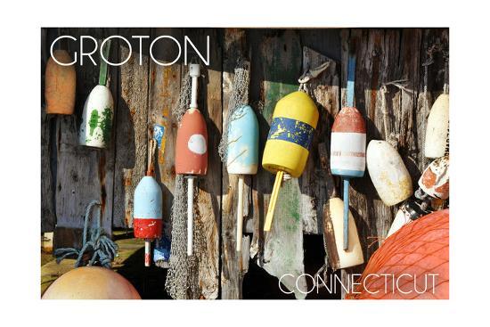 Groton, Connecticut - Buoys-Lantern Press-Art Print