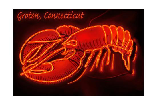 Groton, Connecticut - Lobster Neon Sign-Lantern Press-Art Print
