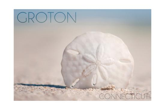 Groton, Connecticut - Sand Dollar and Beach-Lantern Press-Art Print