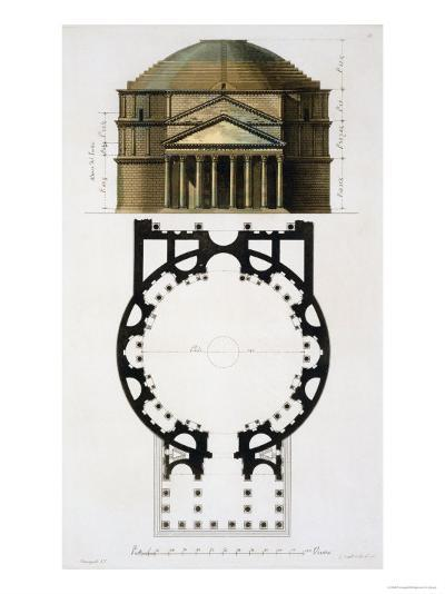 Ground and Facade: Pantheon, Rome, Le Costume Ancien et Moderne, c.1820-30- Fumagalli-Giclee Print