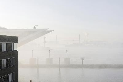 Ground Fog Above the Elbe, Bizarre, Unusual, Elbberg Campus, Altona-Axel Schmies-Photographic Print