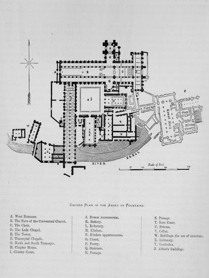 'Ground Plan of Abbey of Fountains', Fountains Abbey,1897-Unknown-Giclee Print