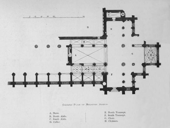 'Ground Plan of Melrose Abbey', 1897-Unknown-Giclee Print