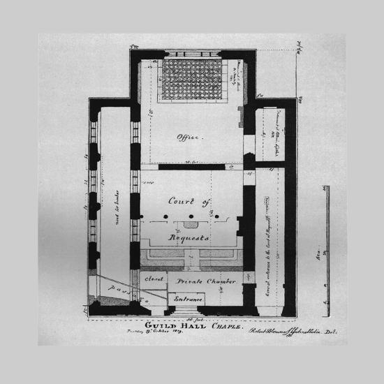 Ground Plan of the Guildhall Chapel 1815, (1866)-Unknown-Giclee Print