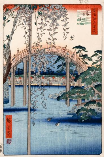 Grounds of Kameido Tenjin Shrine, Plate 57 from the Series 'One Hundred Views of Famous Places in…-Ando Hiroshige-Giclee Print