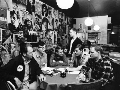 Group of American Army Veterans Who Oppose the Vietnam War Meeting at the Shelter Half Coffeehouse--Photographic Print
