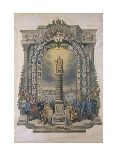 Group of Army Soldiers at a Monument, Austria--Giclee Print