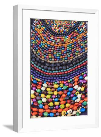 Group of beaded necklaces for sale at an antique market.-Stuart Westmorland-Framed Premium Photographic Print