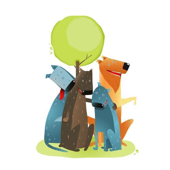 Group of Cartoon Dogs Sitting under Tree Smiling. Group of Cartoon Dogs under Green Tree on White B-Popmarleo-Art Print