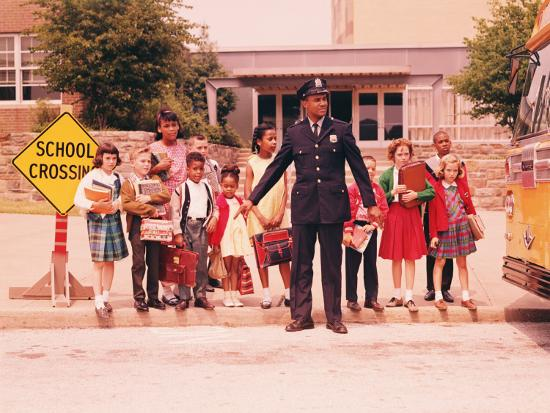 Group of Children at Curb in Front of School, Waiting For Signal From Policeman-H^ Armstrong Roberts-Photographic Print