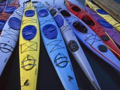 Group of Colorful Sea Kayaks-Michael Melford-Photographic Print
