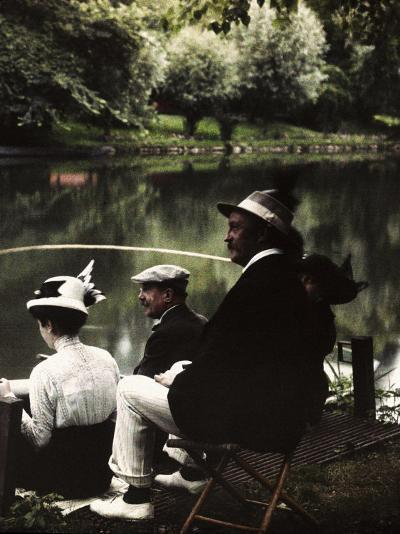 Group of Friends Fishing at Montigny-Henrie Chouanard-Photographic Print
