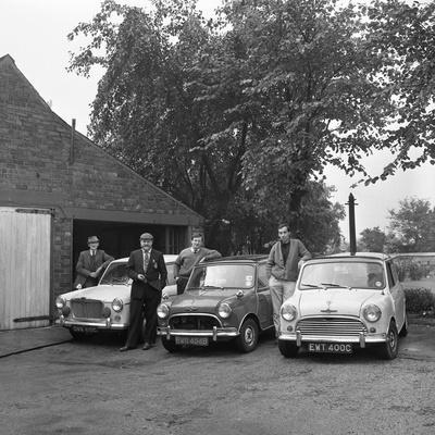 Group of Friends with their Cars, Mexborough, South Yorkshire, 1965-Michael Walters-Photographic Print