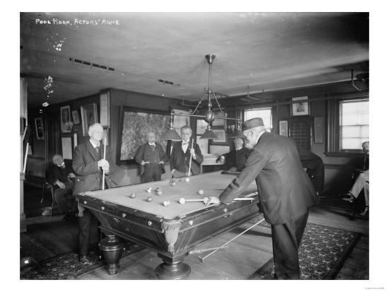 Group of Gentlemen Playing Pool at Billiards Hall Photograph-Lantern Press-Art Print