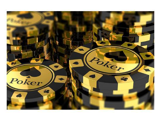 Group Of Gold Poker Chips Premium Giclee Print Art Com
