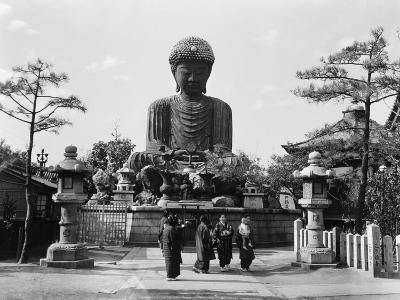 Group of Japanese Woman at Base of Daibutsu Buddha Statue, Near Kobe, Hyogo-H^ Armstrong Roberts-Photographic Print