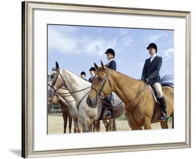Group of Jockeys Sitting on Horses--Framed Photographic Print