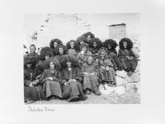 Group of Nuns at the Nunnery of Tatsang, 1903-04-John Claude White-Giclee Print