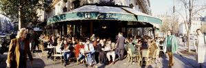 Group of People at a Sidewalk Cafe, Les Deux Magots, Saint-Germain-Des-Pres Quarter, Paris, France