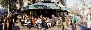 Group of People at a Sidewalk Cafe, Les Deux Magots, Saint-Germain-Des-Pres Quarter, Paris, France