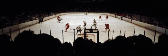 Group of People Playing Ice Hockey, Chicago, Illinois, USA--Photographic Print