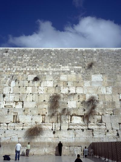 Group of People Praying in Front of a Wall, Western Wall, Jerusalem, Israel--Photographic Print