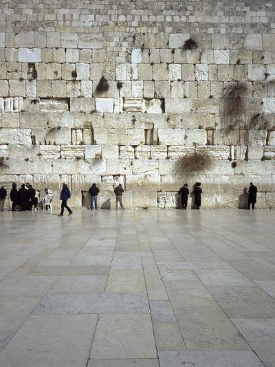 Group of People Praying in Front of a Wall, Western Wall, Old City, Jerusalem, Israel--Photographic Print