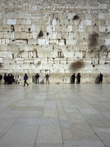 Group of People Praying in Front of a Wall, Western Wall, Old City, Jerusalem, Israel