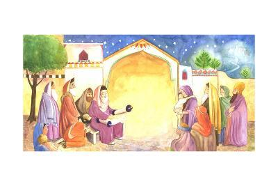 Group of People Reading Scripture Outside at Night--Art Print