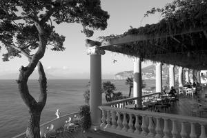 Group of people sitting in a restaurant by the sea, Imperial Tramontano, Sorrento, Naples, Campa...