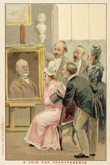 Group of People Studying a Painting--Giclee Print