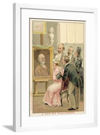 Group of People Studying a Painting--Framed Giclee Print