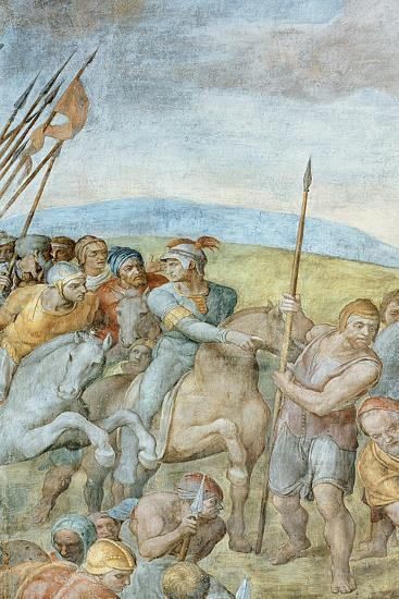 Group of Roman Soldiers with their Leader Pointing Towards to Saint Peter on the Cross, Detail of…-Michelangelo Buonarroti-Giclee Print